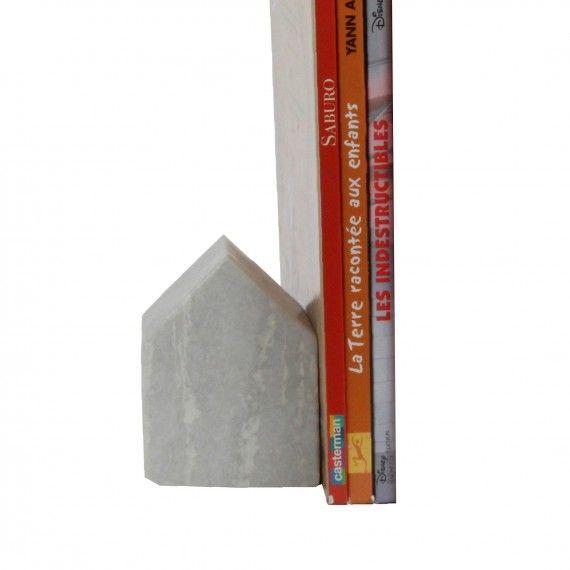 Serre-livre en marbre gris clair, on range tout, livre