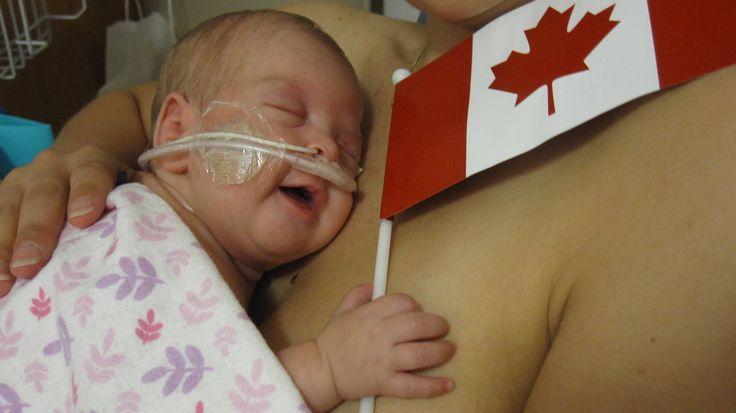 Emma wishing everyone HAPPY CANADA DAY from the NICU  #PCCanadaDay, @ParentsCanada, @guzzie +Guss, @Pink Pearl PR