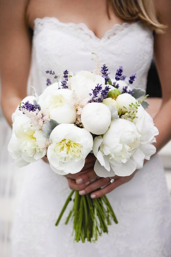 Chic summertime white peonies wedding bouquet; Featured Photographer: Orchard Cove Photography