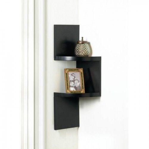 Zig Zag 2 Tier Corner Wall Shelf Black Corner Shelf Wall Shelves Corner Wall