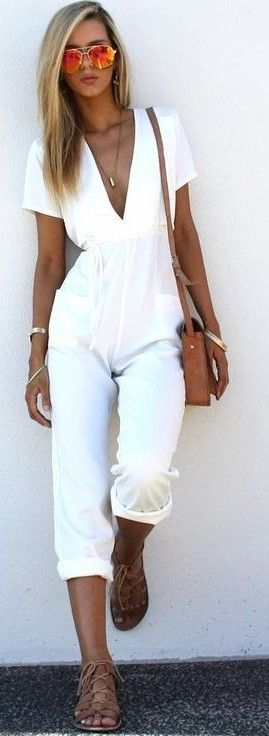 #summer #musthave #outfits |White Jumpsuit                                                                             Source