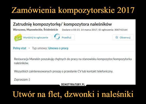 Zamówienia kompozytorskie 2017 Utwór na flet, dzwonki i naleśniki
