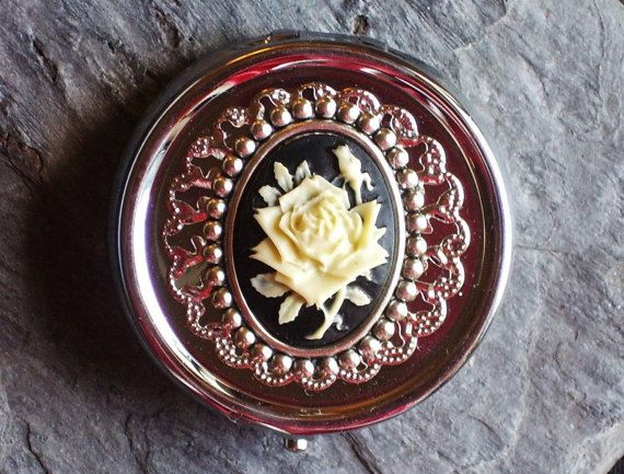 Rose cameo pill box container silver pill box by DelicateIndustry1
