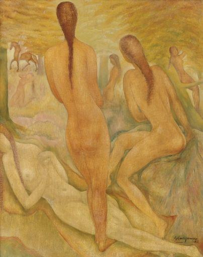 Ger LANGEWEG, bosnymfen, forest fairies, oil/canvas, 67x52,5xm