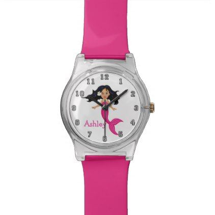 Cute Funny Cartoon Mermaid Personalized Wristwatch - teenager birthday gift idea present teens party