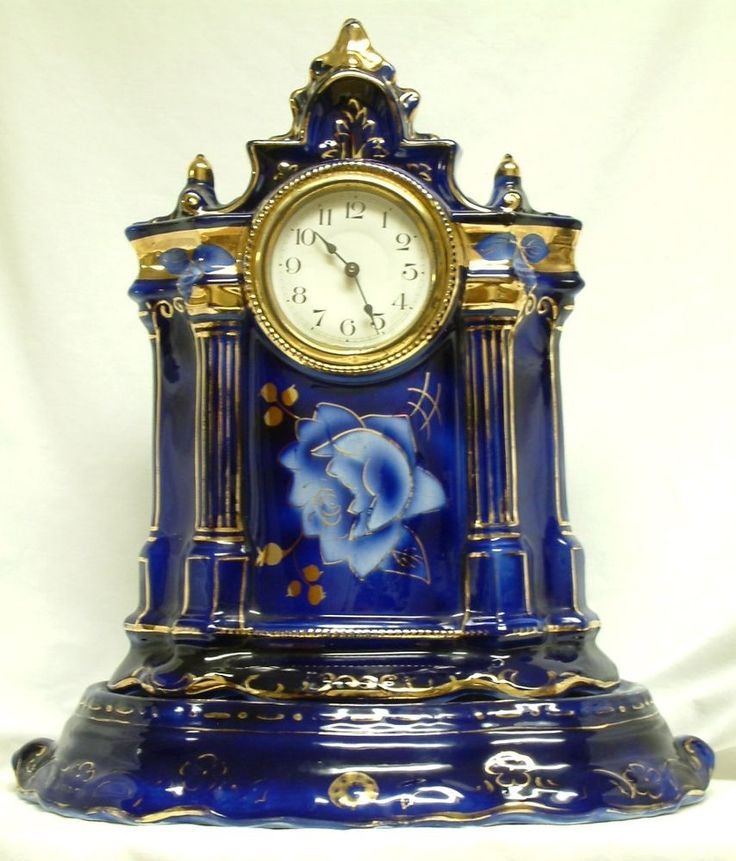 Ca. 1900 Two-Part Flow Blue Pottery Mantel Clock - Cobalt Blue with Gold Trim