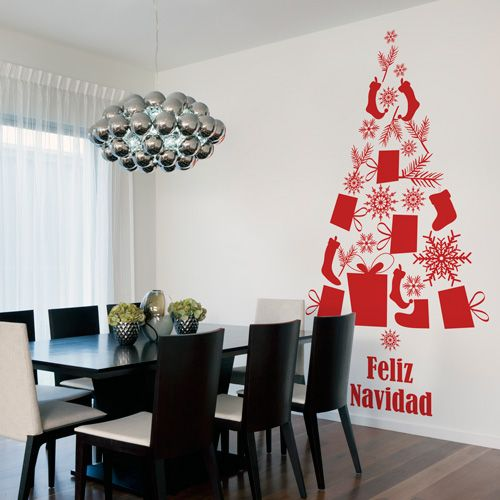 Arbol de navidad de vinilo de corte que puedes colocar en la pared y que ocupe poco espacio. La manera más original de decorar la navidad