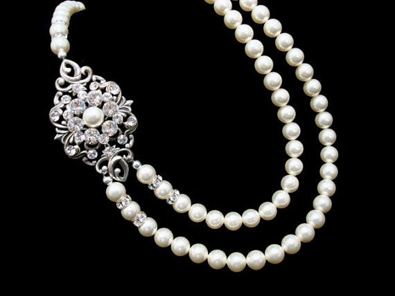Bridal pearl necklace, wedding necklace, vintage style necklace, antique silver necklace, Swarovski crystal and pearl necklace on Etsy, $105.00