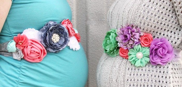 DIY Maternity Bump Sash - great tutorial and layout of flowers :)