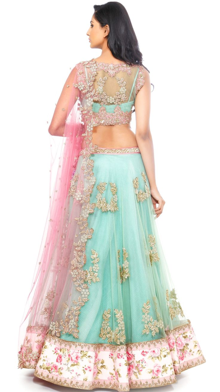 Pink and mint green lehenga. Indian fashion.