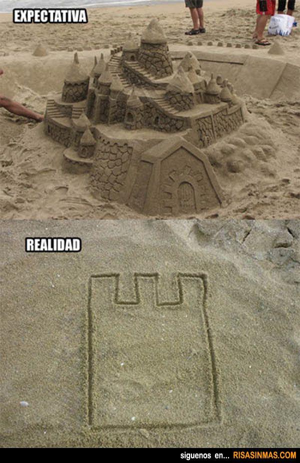 Castillos de arena en la playa. Expectativa - Realidad.