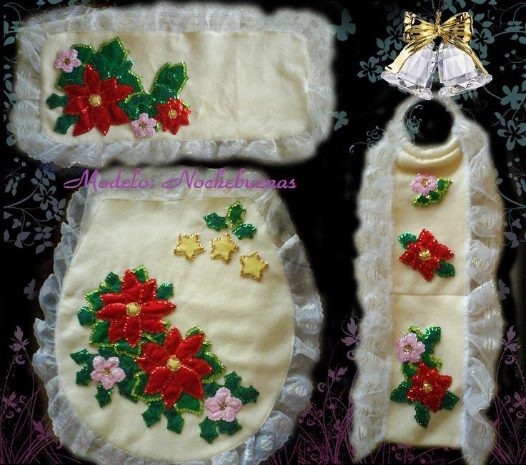 Juegos de baño navideños en fieltro  Navidad  Pinterest ...