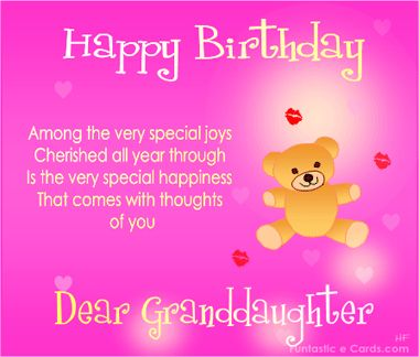 Happy Birthday Granddaughter Verses | FREE online FAMILY Birthday Cards *e BIRTHDAY Messages for Relatives ...