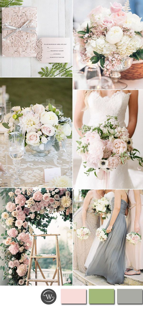 pastel pink and gray spring wedding colors and invitations