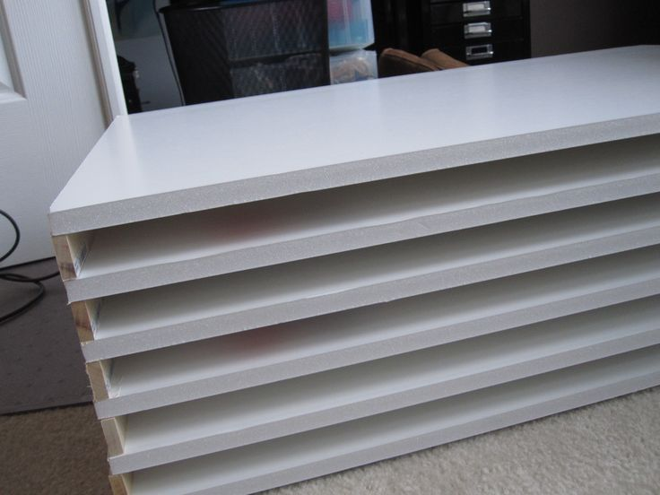 Flat Files? DIY for $40!! 6 sheets of 1/2″ foam core 20×30, 10 pieces of wood sheet 1/4 x 1 x 24, and some craft glue.