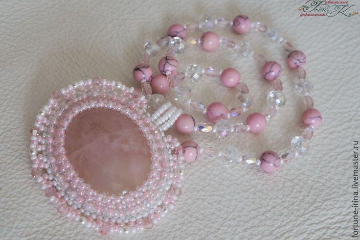 """Купить Кулон с розовым кварцем """"Розовый зефир"""" - розовый, ручная работа, авторская ручная работа"""