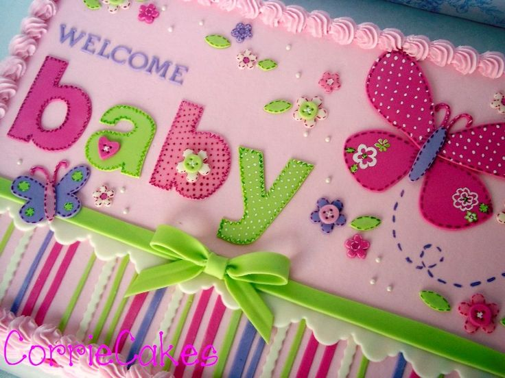 Baby Shower Butterfly   1/2 Sheet Iced In BC With MMF Decorations   Designed