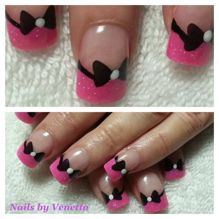 Pink French Acrylic Nails with Black Bow Stamp. Maybe with just one bow each hand
