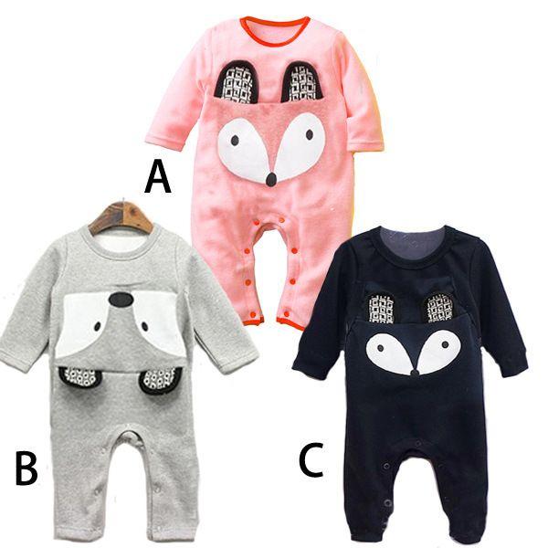 2016 New fashion fox baby romper newborn spring autumn jumpsuit costume baby boys baby girls clothes roupas de bebe 3 color #Affiliate