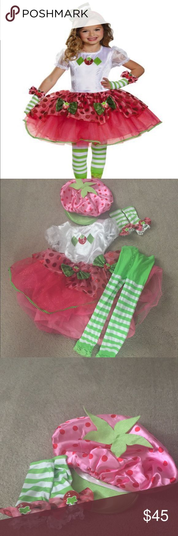 💥Sunday Sale!💥Strawberry Shortcake Costume!🍓 🍓Excellent condition!🍓Comes with tutu dress, tights, hat and glovettes! I paid $61 for the costume set and $15 for the hat. I do not have the headband. The tights have some piling. Minimal and shouldn't show. See pics. This is in excellent condition and very hard to part with. My daughter loved it and looked adorable! Your little strawberry shortcake will look adorable, too!🍓 Costumes Halloween