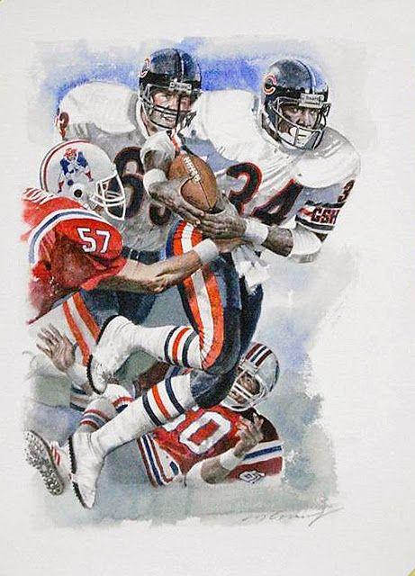 Super Bowl XX Chicago Bears vs. New England Patriots Runningback Walter Payton by Merv Corning. Pro Football Journal Presents: NFL Art: Merv Corning