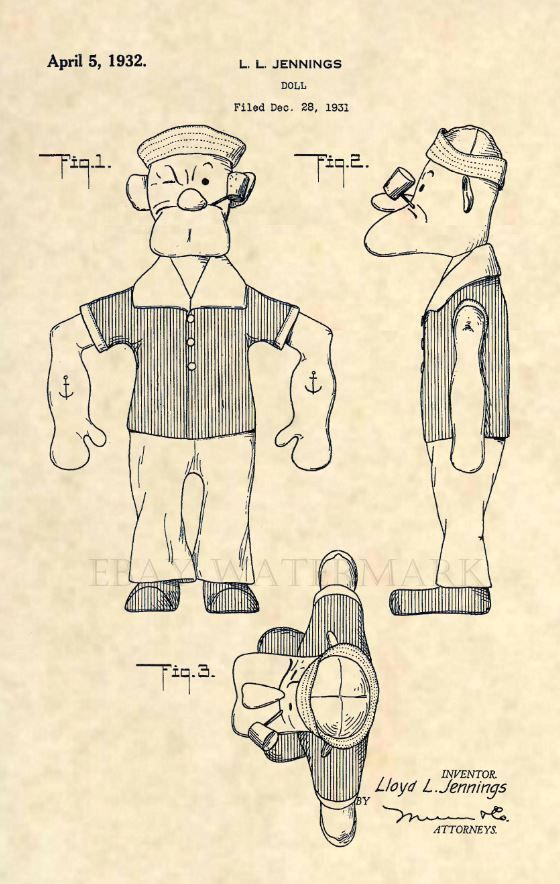Official Popeye US Patent Art Print- Vintage Original Sailor Antique Toy -262 #patentartvintage #antiquetoys