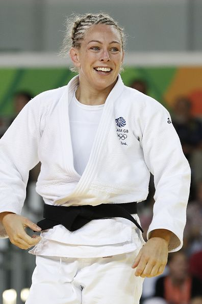 #RIO2016 Great Britain's Sally Conway reacts after defeating Israel's Linda Bolder during their women's 70kg judo contest quarterfinal match of the Rio 2016...