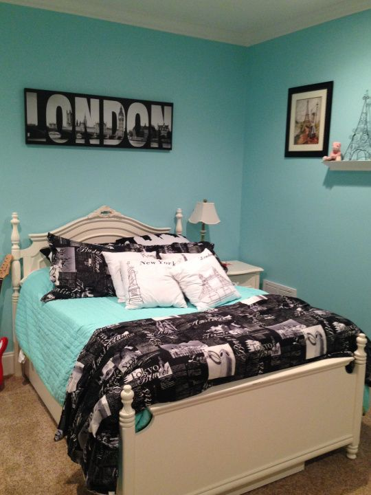 Teen Girls room - Europe London Paris.  Black and White bedding with Spa Painted walls by Sherwin Williams.
