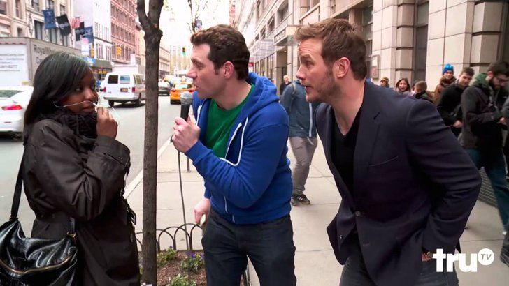 Pin for Later: 19 Times Chris Pratt's Charm Was Almost Too Much to Handle in 2015 When He Approached Strangers on the Street When he appeared on Billy on the Street in October, Chris walked up to strangers who didn't exactly recognize him, and he handled it like a pro.