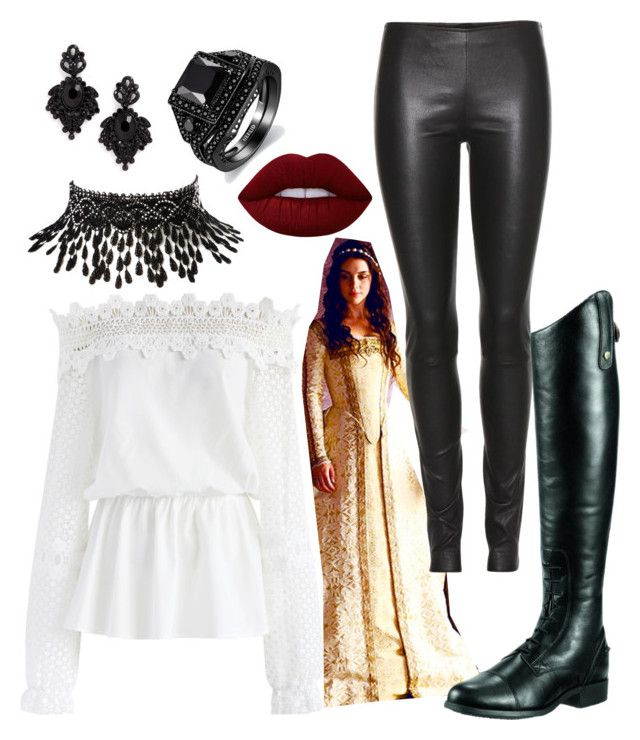 """""""Reign inspired- Mary Stuart riding outfit"""" by nikkey23 ❤ liked on Polyvore featuring Chicwish, The Row, Ariat, Amrita Singh, Tasha and Lime Crime"""