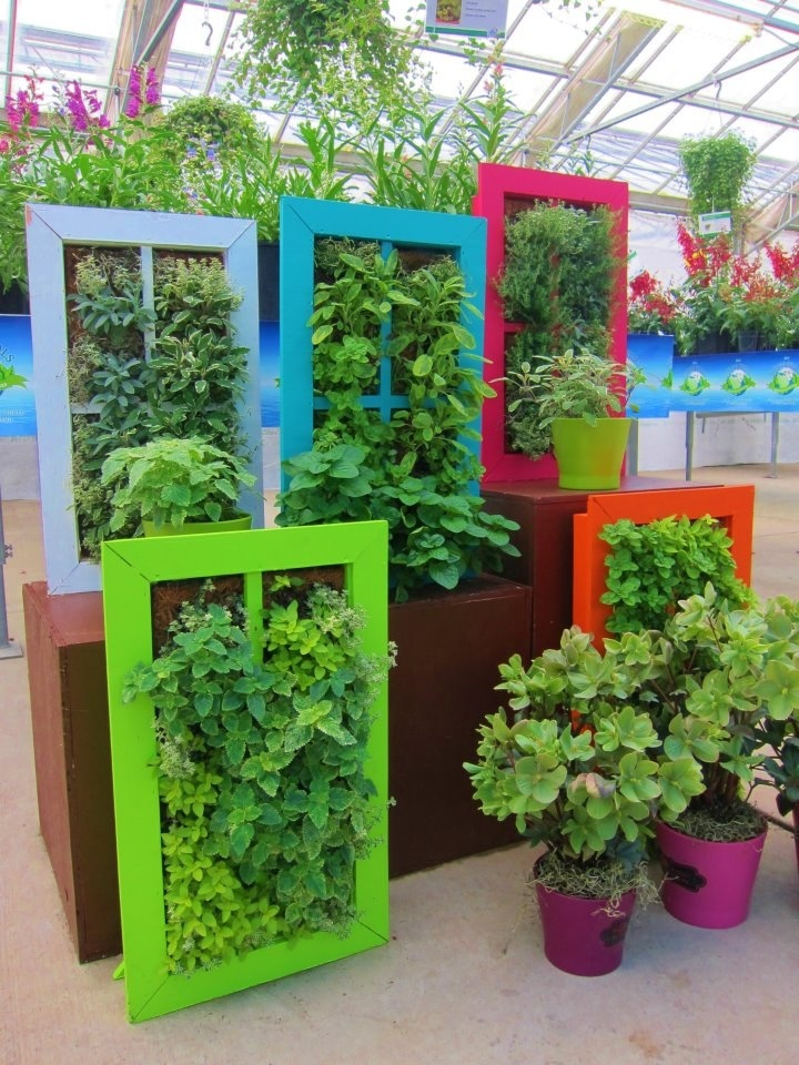 colorful vertical garden containers
