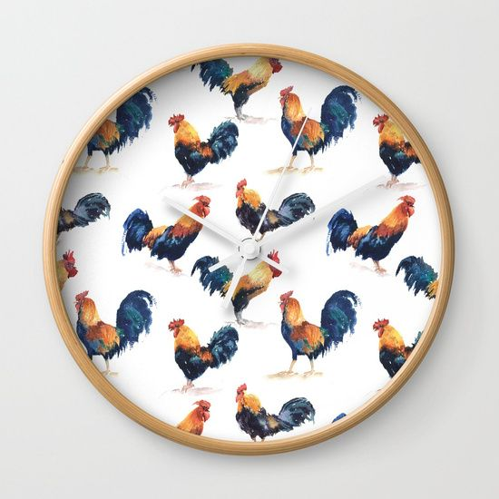 Seamless pattern watercolor roosters Wall Clock $30.00