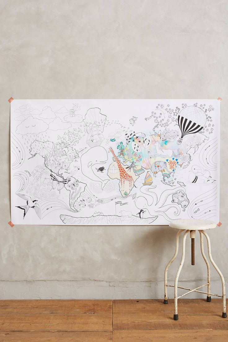 Let 39 s travel colouring mural for Anthropologie mural