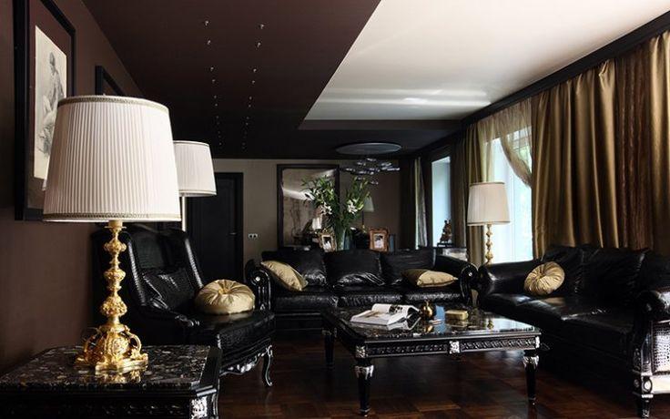 fauteuil en cuir noir canap droit assorti table basse rectangulaire en bois massif et faux. Black Bedroom Furniture Sets. Home Design Ideas