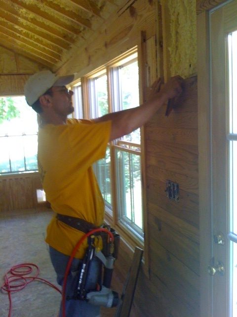 Riggs Is Putting In Our Wall Of Tongue And Groove Heart Pine In The  Addition/