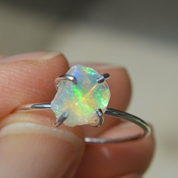 Ethiopian Opal Claw Ring Sterling Silver by TinyBaublesbyEllen