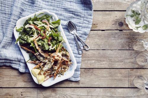 Salade met langoustines