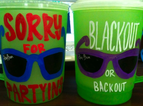blackout or back out: i put that on my hayride dates jug last fall!