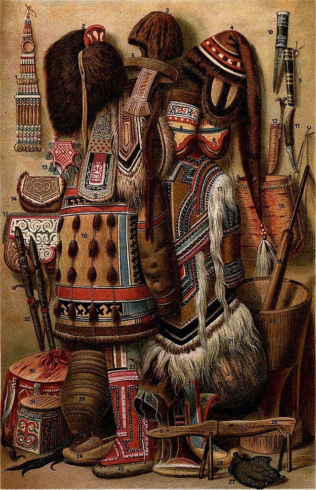Shaman clothing of the Yakuts (Sakha: Саха, Sakha) Turkic people which mainly inhabit the Sakha (Yakutia) Republic. The Yakut or Sakha language belongs to the Siberian branch of the Turkic languages. And mainly live in the Republic of Sakha (Yakutia) in the Russian Federation.