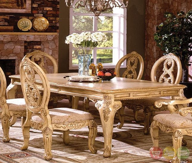 Tuscany Iii Elegant Antique White Formal Dining Set With