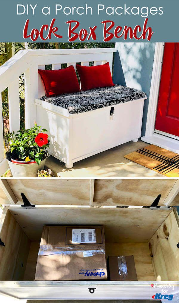Diy A Porch Packages Lock Box Bench A Perfect Way To Keep Your Holiday And Everyday Deliveries More Secure From Por Porch Storage Porch Storage Bench Lockbox