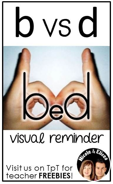 """LITERACY TIP from Nicole and Eliceo - Help beginner readers and writers differentiate between the letters """"b"""" and """"d"""" with this easy visual."""