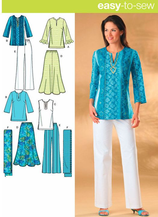 Misses TUNIC SKIRT PANTS Sewing Pattern - Skirts Tunics Top & Scarf - 5 Sizes