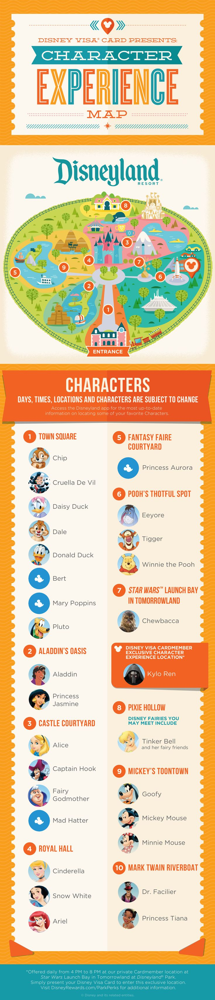 Hoping to meet some of your favorite Characters at Disneyland® Park? Stop hoping and start planning with this handy, dandy guide to the Characters you can meet throughout the land, as well as where and when to find them! Keep this map handy – oh, and your camera and autograph book, too, obviously! Go to Disneyland.com for all up-to-date information.
