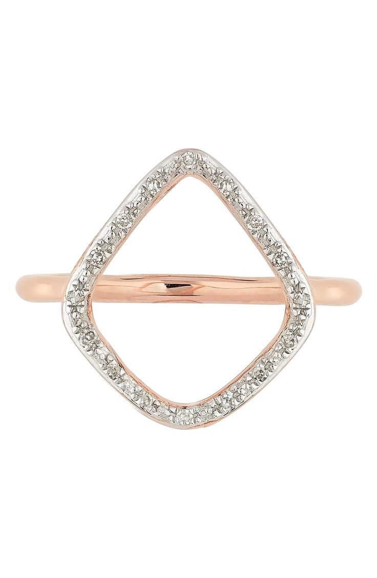 Free shipping and returns on Monica Vinader 'Riva' Diamond Hoop Ring at Nordstrom.com. Radiant pavé diamonds encrust the organically shaped hoop setting of a glamorous openwork ring crafted from gleaming 18-karat gold vermeil.