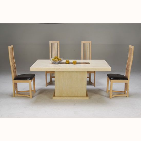Celine Cream And Cocoa Brown Marble Dining Table With 4 Chairs & 15 best marble dining tables and chairs sets images on Pinterest ...