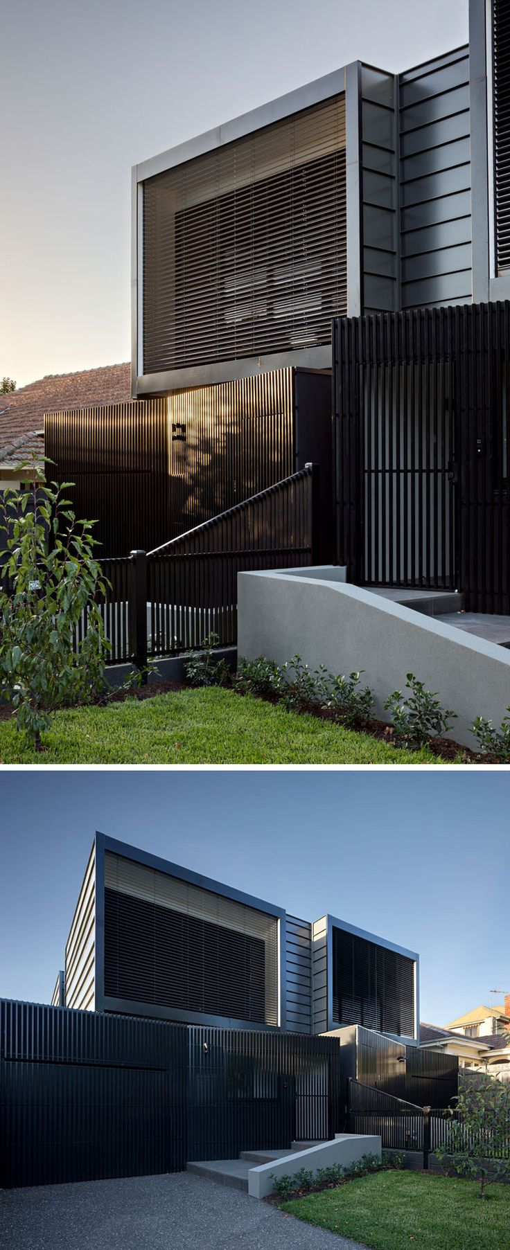 The exterior of these black modern townhouses have lightweight aluminium batten screening, and metal cladding.