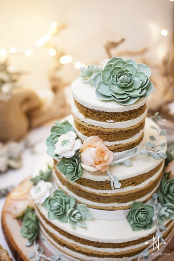 Naked wedding cake with succulents / http://www.himisspuff.com/succulent-wedding-decor-ideas/5/
