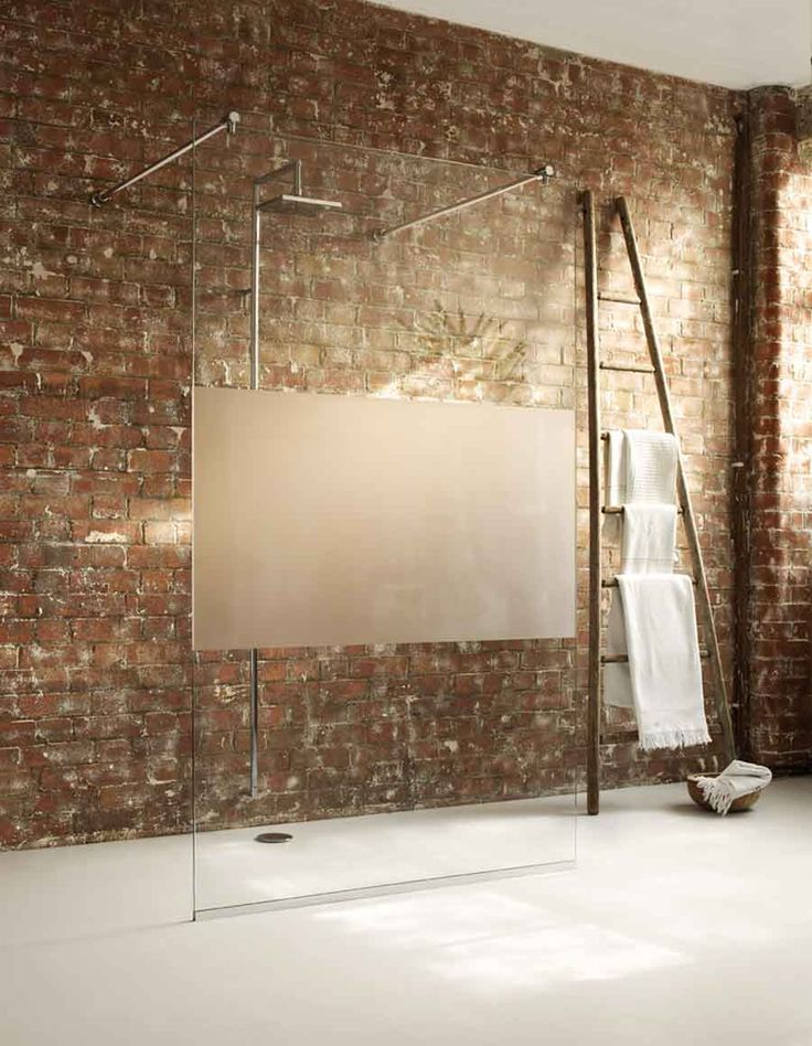 Unique Shower Glass Panel Design And Brick Bathroom Wall Idea Feat Ladder  Towel Rack Shelf