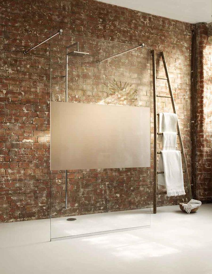 acrylic panels for bathroom walls%0A Unique Shower Glass Panel Design And Brick Bathroom Wall Idea Feat Ladder  Towel Rack Shelf